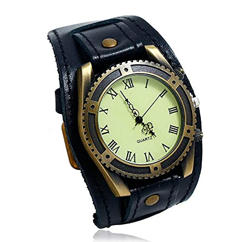 Reloj Vintage para Hombre, Pulsera con Cinturón, Personalidad, Pulsera de Cuero Punk Salvaje, Accesorios de Decoración de Muñeca, Reloj de Pulsera con Brazalete de Moda Gótica