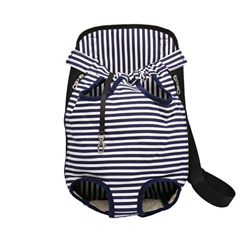 POPETPOP Pet Dog Canvas Backpack Legs Out Puppy Pouch Carrier Front Bag for Traveling Hiking Camping Size XL (Strip)