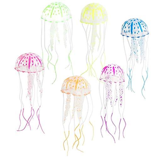 Qfauto 6 piezas brillantes de medusas decorativas para acuario, pecera, decoración del hogar, centro de mesa de mesa, adorno
