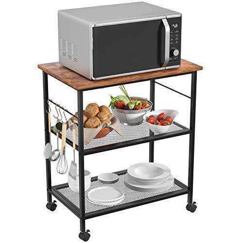 Topfurny Kitchen Microwave Cart 3Tier Baker#039s Shelf Utility Cart End/Side Office Shelf Vintage Rolling Cart with Wheels and 5 Hooks for Kitchen Living Room Bedroom Furniture