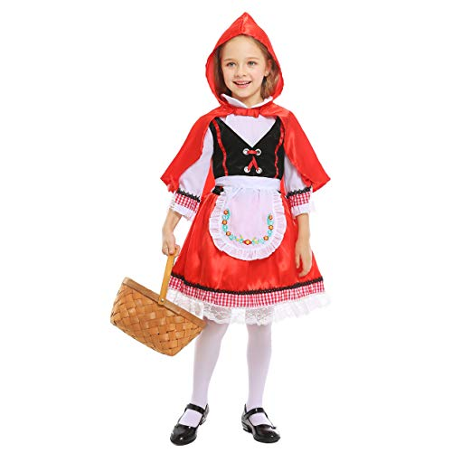 LOLANTA Disfraz de Caperucita Roja para niñas Disfraz de Cosplay de Halloween para niñas (6-7 años)
