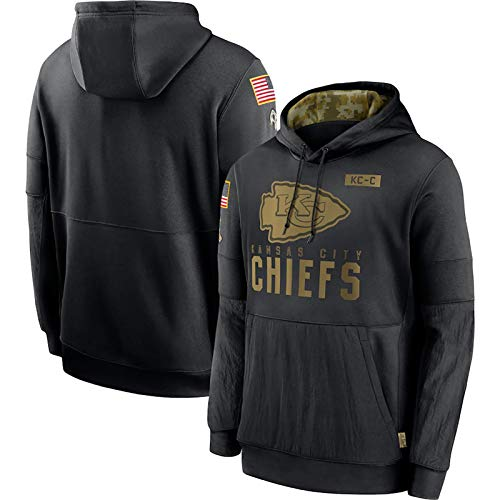 ERPA Chiěfs Herren American Football Pullover Hoodie 2020 Salute to Service Sideline Performance Langarm Rugby Jersey Pullover Hoodie-Schwarz Gr. XXL, farbe