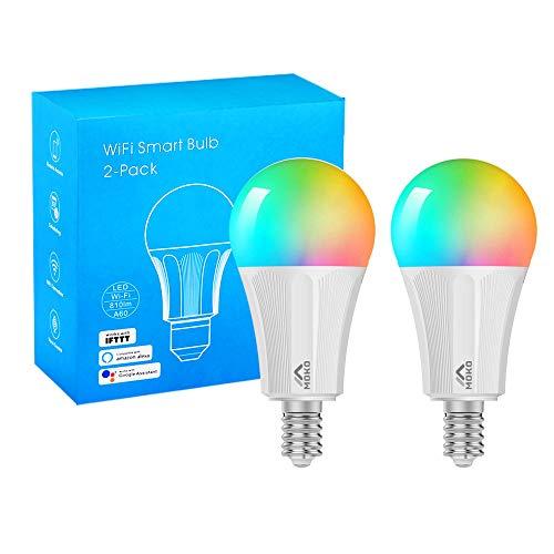 MoKo Lampadina LED E14 Colorate RGB, Intelligente Lampadine Controllo Remoto WiFi, 2 Pezzi 9W Luce Calda Dimmerabile, Lavora con Alexa Echo, Google Home per Controllo App Smart Life No Hub