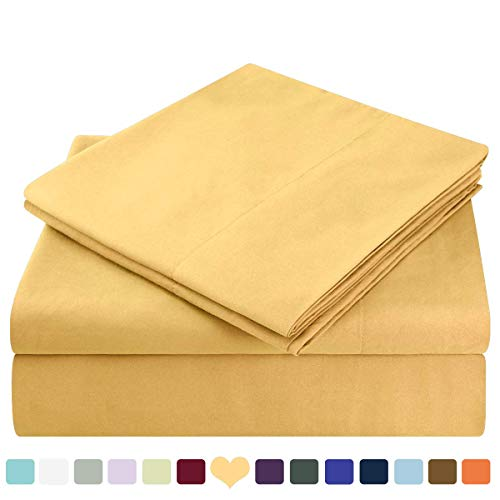HOMEIDEAS Bed Sheets Set Extra Soft Brushed Microfiber 1800 Bedding Sheets - Deep Pocket, Wrinkle & Fade Free - 4 Piece(Queen,Gold)