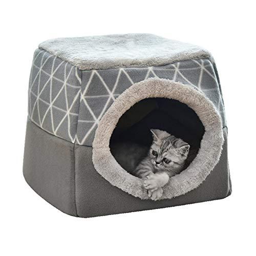 Pet bed Para gatos y perros, caseta suave nido de cama, cueva, saco de dormir, colchoneta para mascotas de invierno, cálida y acogedora, camas, 2 tamaños L XL 2 colores gris-35 x 33 x 30 cm
