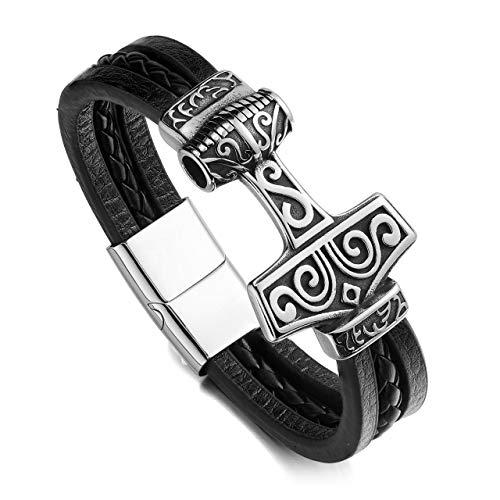 Jovivi Schmuck Männer Wikinger Lederarmband Mjolnir Thors Hammer Vikings Armband Magnetverschluss Echtlederarmband Armreif