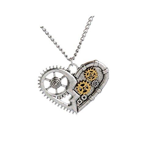 Milageto Cadena de collar Steampunk con colgante en forma de corazón abierto, hecho a mano, para hombre y mujer