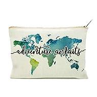 Travel Bag Adventure Awaits Makeup Case Cosmetic Bag Nature Linen Cotton World Map Makeup Bag Great Gift for Travel