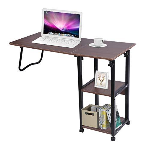 Mesilla de noche para ordenador portátil, color negro, altura ajustable, apta para dormitorio, salón, balcón