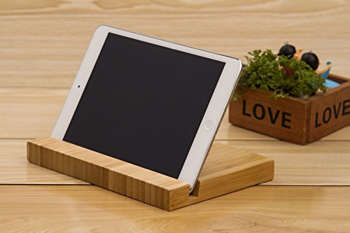 AuroTrends Desktop Stand for iPad: Portable Bamboo Tablet iPad Holder- Minimalism Style Tablets Cradle Universal Holder Stand Compatible with All iPad and Samsung Galaxy Tab(Pad)