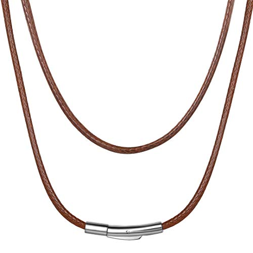 Brown Leather Necklace Cord with Durable Stainless Steel Clasp Waterproof 2mm 20 Inch Unisex Jewelry Braided Cope Chain