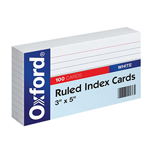 "Oxford Ruled Index Cards, 3"" x 5"", White, 100-Pack (31)"