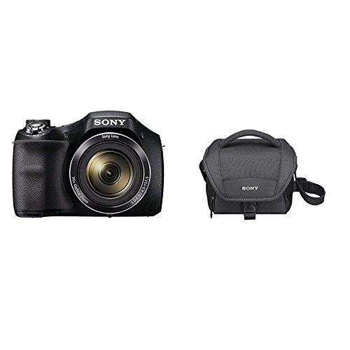 Sony DSC-H300 - Cámara compacta de 20.1 MP (pantalla de 3', zoom óptico 35x, estabilizador de imagen electrónico, vídeo HD 720p), negro + Sony LCSU11B.SYH - Bolsa de transporte para cámara/videocámara, color negro