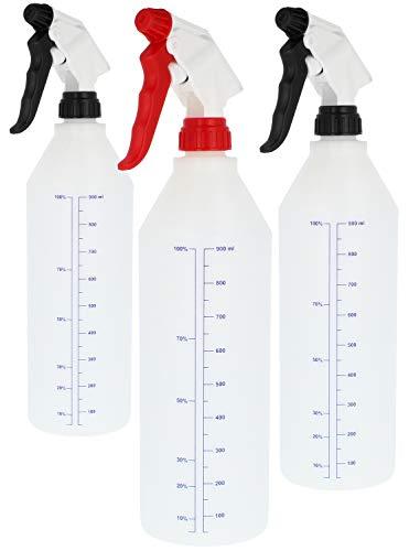 com-four® 3X Sprühflasche Chemiebeständiger Pumpsprüher für verdünnte Säuren und Lösungsmittel