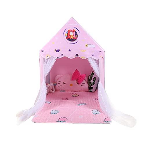 Rosa Casa Infantil con Luces LED de Estrella,Casa Infantil de Cielo Estrellado Teepee Infantilpara Diversión en Interiores y Exteriores, Juegos Imaginativos y Regalos,130x100x140cm