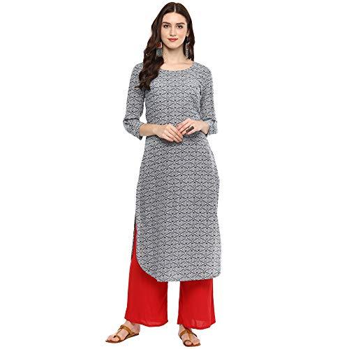 Indian Virasat Gray Colored Cotton Printed Long Kurta