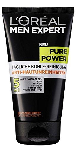 L'Oreal Men Expert anti-onzuiverheden face wash | Verrijkt met zuiverende en absorberende houtskool | Inhoud: 150 ml