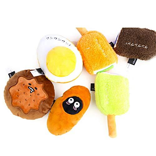 Kelong Juguete de peluche suave para perro, serie Snacky juguetes para perros, juguete de peluche interactivo para masticar, duradero y suave estilo japonés para cachorros (Dorayaki)