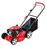 WMQ Yard Machines 173cc 21-Inch High Wheeled 2-in-1 Walk-Behind Push Gas Powered Lawn Mower - Perfect for Small to Medium Sized Yards - Side Discharge and Mulching Capabilities, Red