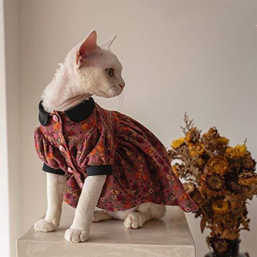 TENGTUD Ropa de Gato de Pelo, Sphynx/Devon Red Cat.-M +_Pie Corto