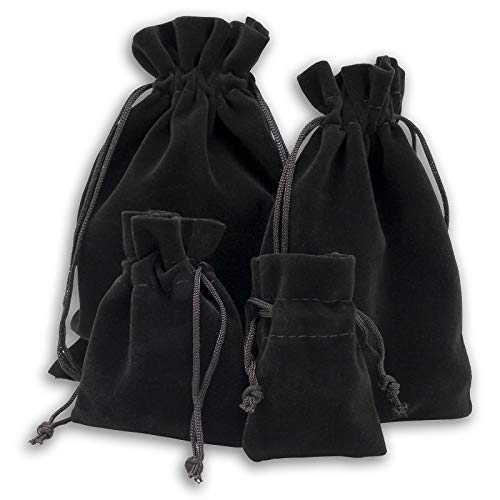 12-Pack Medium Heavyweight Velvet Bags with Cord Drawstring (3x3-1/2, Black) for Dice Jewelry Crystals Pouches by TheDisplayGuys