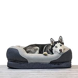 BarksBar Large Gray Orthopedic Dog Bed - 40 x 30 inches - Snuggly Sleeper with Nonslip Orthopedic Foam