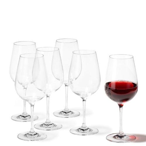 Leonardo Rotweingläser Tivoli, Rotweinglas im Basic-Stil, Rotweinkelch mit Stiel und 580-ml Füllmenge, 6-teilig, 020964