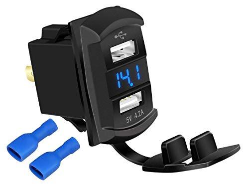 DaierTek 4.2A Rocker Dual USB Car Charger Adapter Socket Waterproof Blue Led Digital Voltmeter for Rocker Marine Switch Panel on Boat RV Vehicle…