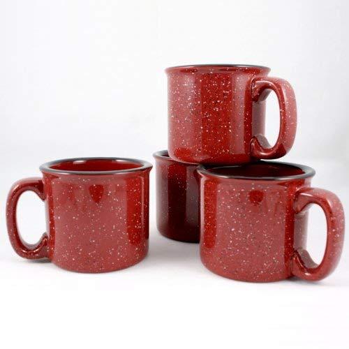 Marble Creek Ceramic Campfire Mug, 15oz - Set of 4 (Burgundy)