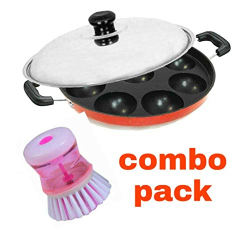 SS Private Non-Stick 12 Cavity Appam Patra Side Handle with Lid, Liquid Dispenser Multi use Brush Combo Pack (Colour May Vary)