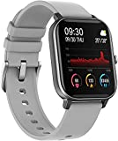Smart Watch for Women Men, Fitness Activity Tracker con Monitor de Ritmo cardíaco, Step Calorie Counter Sleep Monitor, Smartwatch Impermeable para iPhone Android (Color : Fog Gray)