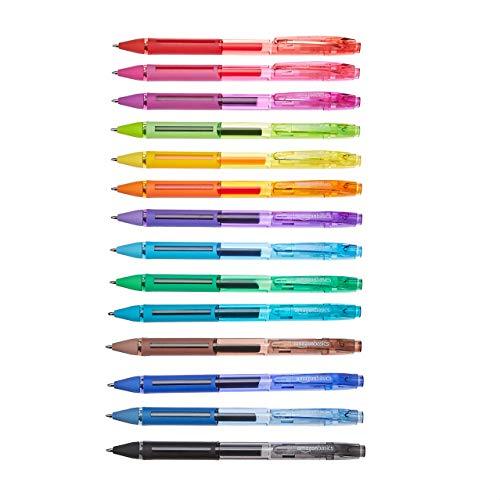 Amazon Basics- Penna gel con punta media, confezione da 14, colori assortiti