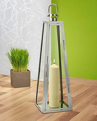 kamelshopping XXL Edelstahl Bodenlaterne mit Echtglasscheiben, 70 cm, Verschiedene Modelle, Windlicht mit Henkel (Pyramide)