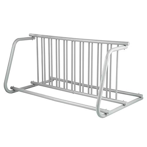 """BestEquip Holders, 59"""" Length All-Steel Grid, 10 Capacity Dual-Side Storage Stand for Garages Streets Yards Events Floor Bike Rack, Silver"""