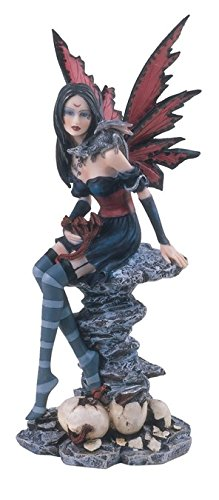 """Major-Q G8091321 10"""" Black Hair Fairy with Red Wings and Blue Dress Holding Baby Dragon Statue Figurine Home Decor Sculptures Polyresin"""