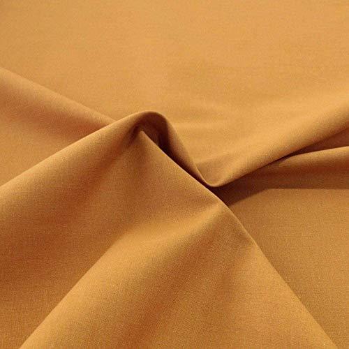 TOLKO Baumwollstoff | 42 kräftige ÖkoTex Farben Baumwoll-Nesselstoff Uni Kleiderstoff Dekostoff | Baumwolle Meterware 150cm breit | Vorhang-Stoff Bezugsstoff natur Webstoff zum Nähen 50cm (Ocker)