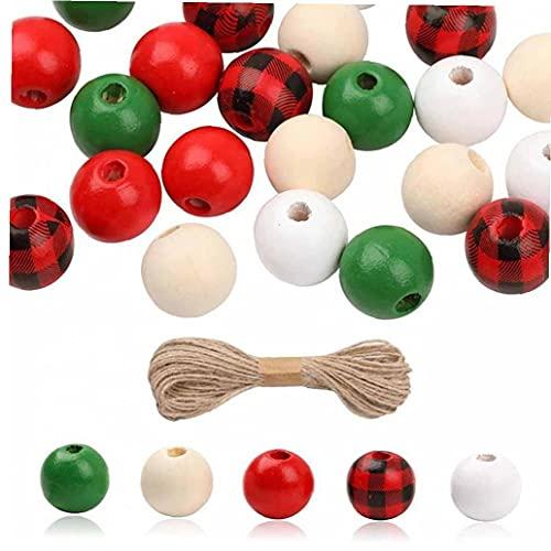 Onsinic 200 cuentas de madera de Navidad con cuerda de cáñamo para fiestas de Navidad, día festivo, manualidades, guirnaldas de joyería (16 mm)