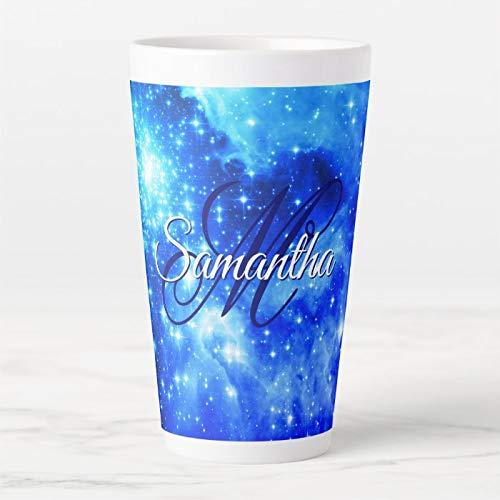 17 Oz. Coffee Mug, Sapphire Blue Bright Aqua Celestial Ombre Monogram Latte Mug, Ceramic Latte Travel Cup with Lid and Spoon, Tea Cup