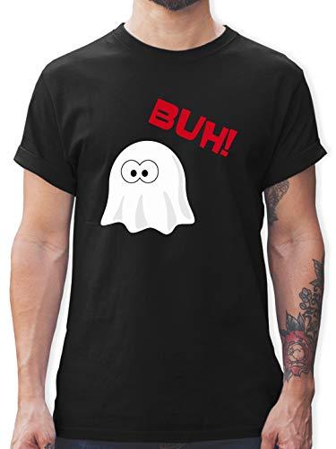 Halloween - Kleiner Geist Buh süß - M - Schwarz - Tshirt Halloween kostüm - L190 - Tshirt Herren und Männer T-Shirts