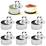 Fireboomoon 6 Pack Stainless Steel Round Cake Mousse Mold with Pusher,Small Round Pastry Cake Baking Rings with Food Pusher(3.15