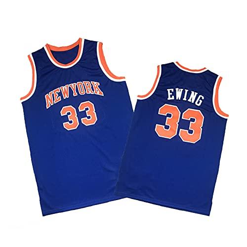 ZMQO Knícks 33# Ewing Baloncesto Jerseys para Hombres y Mujeres Bordados, Malla Bordada, Secado rápido, S-XXL Blue-XXL