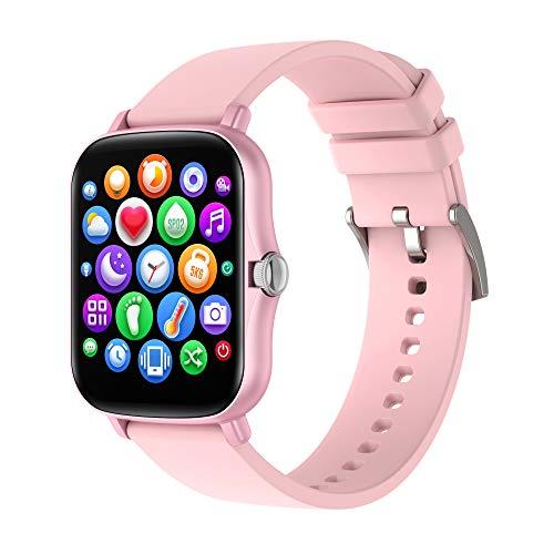 LEMONDA - Reloj inteligente IP67 con monitor de actividad, pantalla a color, monitor de frecuencia cardíaca, sueño, podómetro, para teléfonos Android e iOS (rosa)