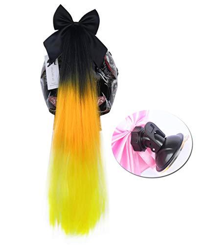 3T-SISTER Helm Pigtails Accessoire Pigtails Paardenstaart Pluizig Haar voor Motorfiets Fiets Batting Skate of Andere Helmen 1 Stks 24 inch/Veel Kleuren