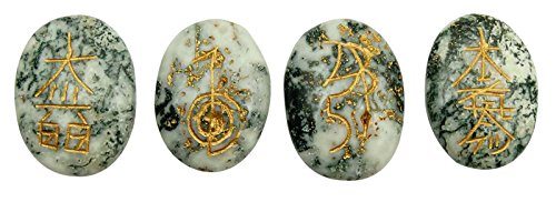Harmonize Indianbeautifulart Un montón de de 4 Piezas de ágata dendrítica meditación Equilibrio de Piedra curativo de Karuna Símbolo