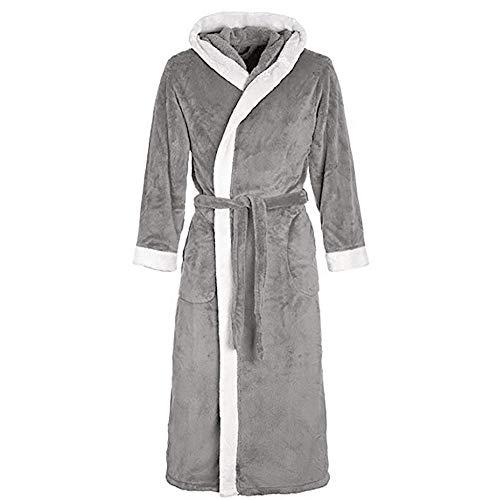 VJGOAL Invierno de Las Mujeres de Moda Casual Color sólido con Bata Pijamas Alargado de Manga Larga de Felpa Chal Albornoz Bata de Noche Bata de baño(Small,Gris)