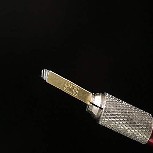 Ssg 100 Pcs PCD U12 microlames aiguilles for le maquillage permanent EYEBROW Blades Manuel MICROBLADING Pen 3D broderie d'or Tattoo cuivre Nouveau (Color : Copper)