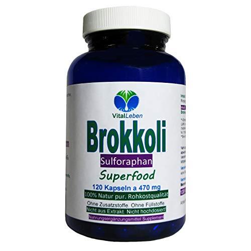 BROKKOLI Broccoli natürliches Sulforaphan & Indol-3-Carbinol - 120 Kapseln - Antioxidantien & Vitamine C E K, B-Komplex + Calcium Magnesium Eisen Zink Kalium - OHNE ZUSATZSTOFFE. 26820-120