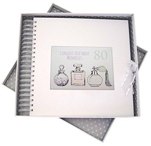 White Cotton Cards Carte d'anniversaire 80 Ans, et de mémoire Livre, flacons de Parfum, Blanc