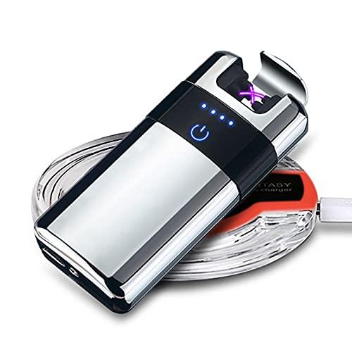 Mechero Eléctrico Encendedor Eléctrico USB Recargable, Mechero Eléctrico para Hombres Pantalla Táctil Mechero sin Llama Prueba de Viento Recargable Encendedor para Cocina,Silver