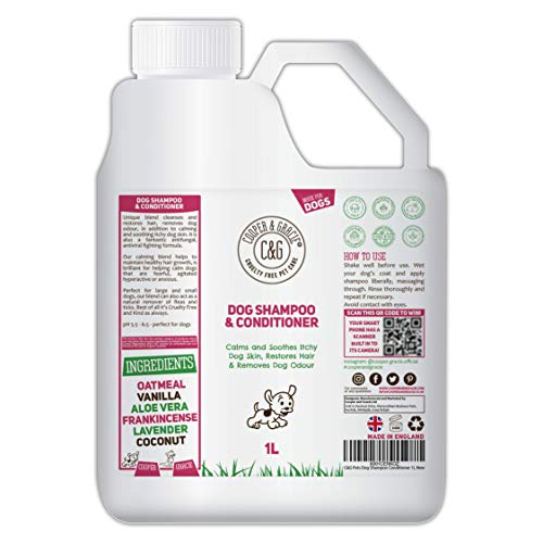 C&G Pets | Dog Shampoo & Conditioner 1L | Anti-Bacterial Anti-Fungal | Calms & Soothes Itchy Dog Skin | Restores Hairs | Remove Bad Odour